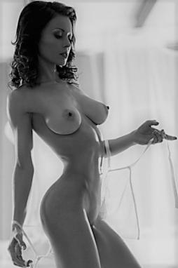 Black and white of perfect nude babe