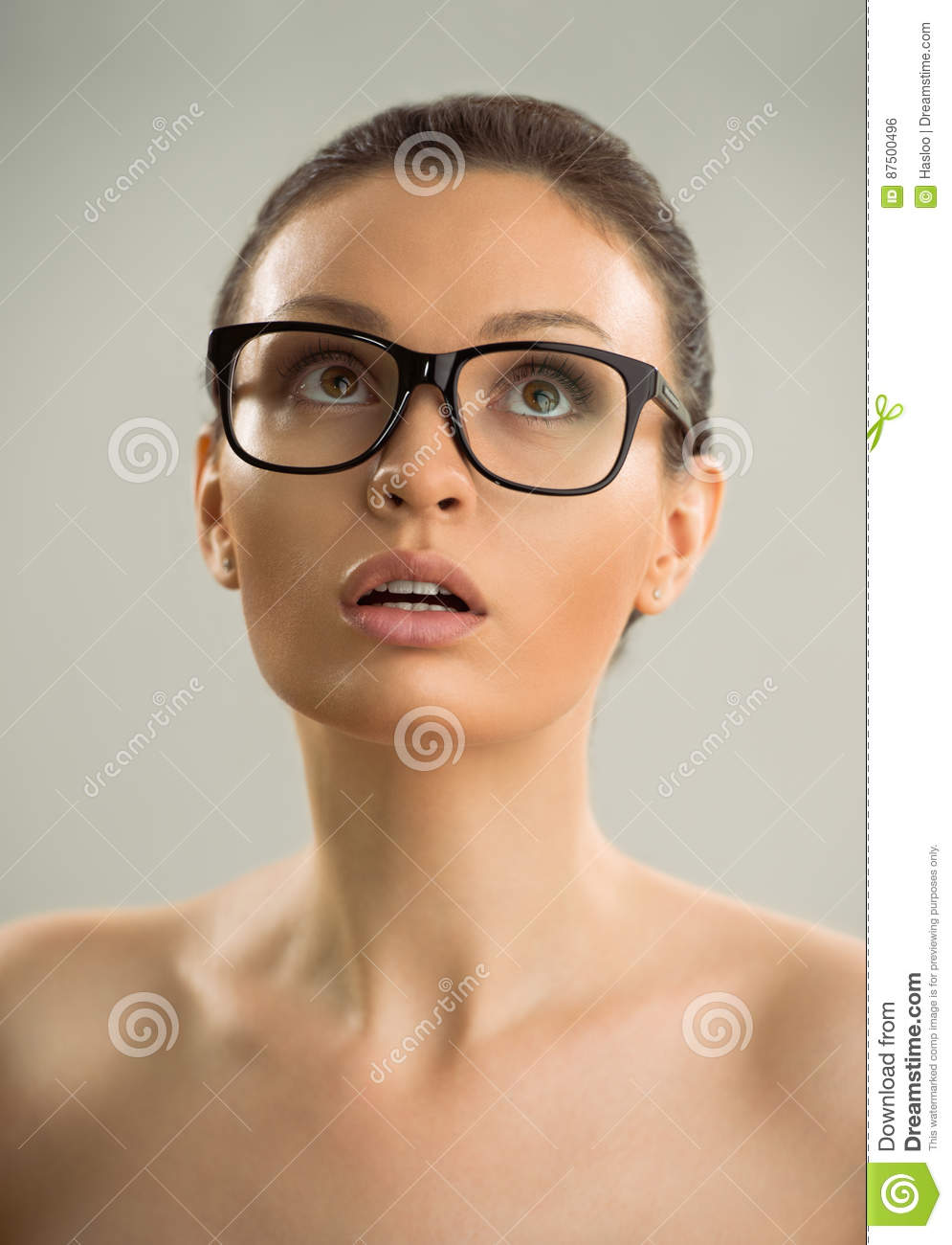 Naked girls and women wearing glasses